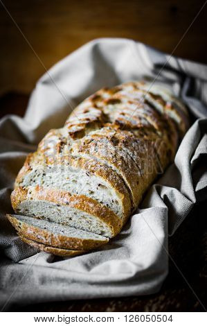 Image of Whole Grain Bread On Rustic Background ** Note: Shallow depth of field