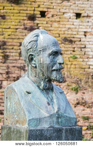 Lugo, Italy - April 03 2016: Statue of Aristocratic man with pigeon poop on head