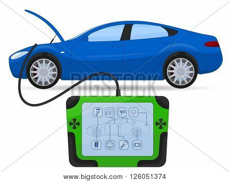 Car diagnostics test service, vector illustration isolated on white