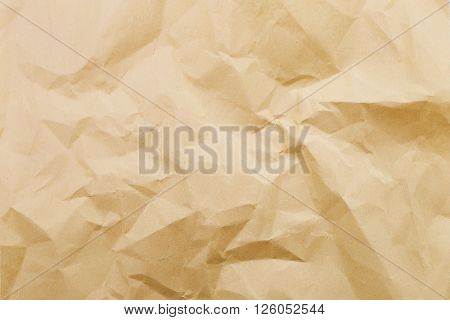 Wrinkled brown paper taken as backgroundม crumpled paper