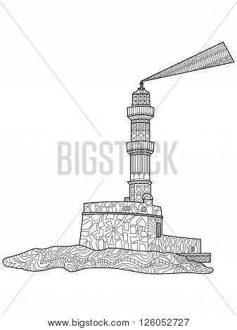 Lighthouse coloring for adults flying machine vector illustration. Beacon anti-stress coloring for adults. Screed zentangle style. Seamark black and white lines. lace
