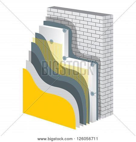 Thermal insulation cross-section layered scheme. Wall thermal protection. Insulation principle scheme. Thermal insulation construction. Wall thermal isolation. Simple colored EPS10 vector illustration