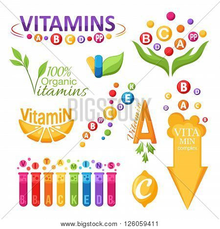 Vitamins design elements set. Emblems icons and labels.