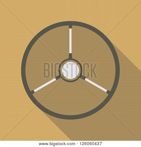 Retro car steering wheel vector icon flat symbol. Retro automobile steering wheel icon in flat style with long shadow. Retro car steering wheel icon flat design element. EPS10 vector illustration.