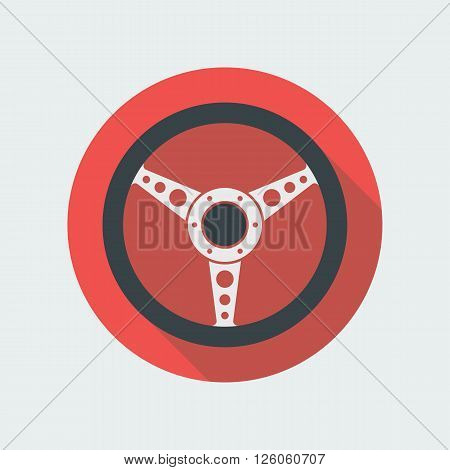Car steering wheel vector icon flat symbol. Automobile steering wheel icon in flat style with long shadow. Auto steering wheel flat icon. Car steering wheel icon flat design element. EPS10 vector.