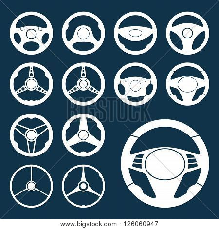 Set of car steering wheel vector icons. Automobile steering wheel silhouettes. EPS8 vector.