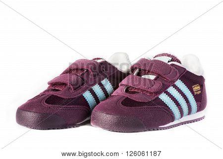 Varna Bulgaria - August 17 2016 :ADIDAS DRAGON shoe. Isolated on white. Product shots