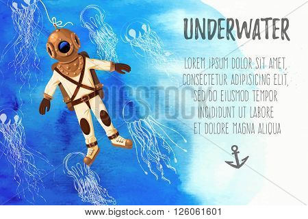 Vector illustration of retro diver and jellyfish on watercolor background with copy space