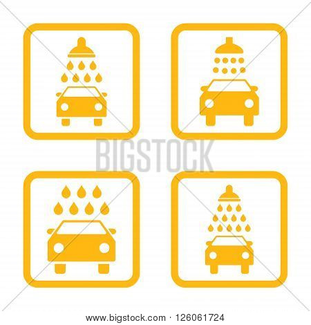 Carwash vector icon. Image style is a flat icon symbol inside a square rounded frame, yellow color, white background.