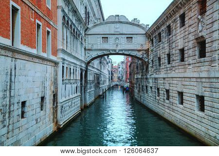 Bridge of sighs in Venice Italy at the sunrise