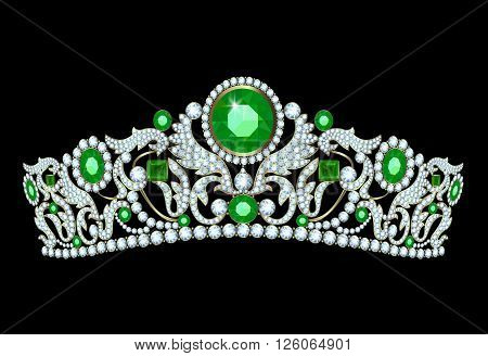 Diamond tiara with emerald accents on a black background