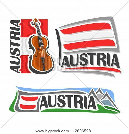 Vector logo for Austria, consisting of 3 isolated illustrations: violin, fiddle on background of national state flag, symbol of Austria and austrian flag beside Alps mountains close-up