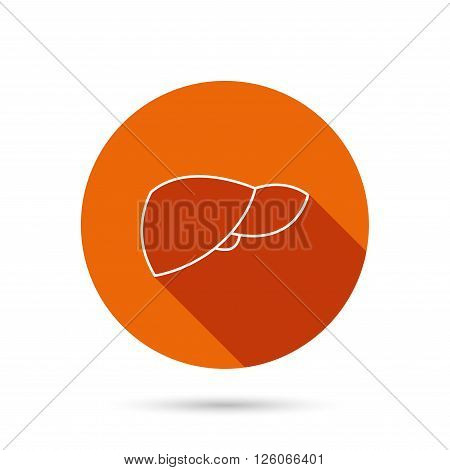 Liver icon. Transplantation organ sign. Medical hepathology symbol. Round orange web button with shadow.