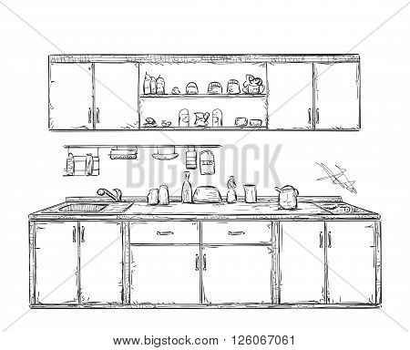 Kitchen cupboard, kitchen shelves, hand drawn interior
