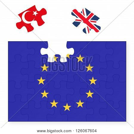 European Union flag missing United Kingdom Great Britain jigsaw puzzle piece Brexit EU sunset Turkey in replacement