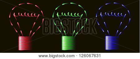 Neon red blue green light bulbs idea black background