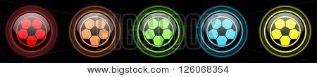 soccer colored web icons set on black background