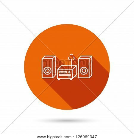 Music center icon. Stereo system sign. Round orange web button with shadow.