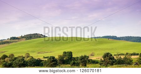 Beautiful green hills in Pieniny mountains Slovakia