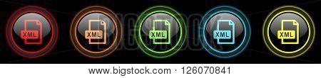 xml file colored web icons set on black background