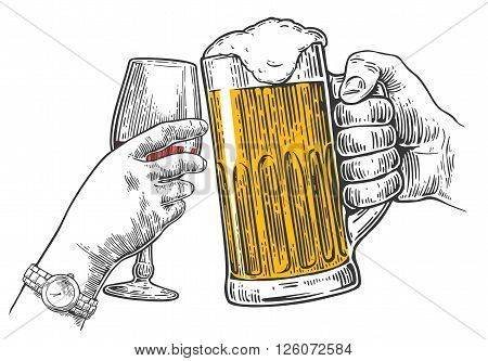 Two hands clink a glass of beer and a glass of wine. Hand drawn design element. Vintage vector engraving illustration for web poster invitation to party. Isolated on white background.