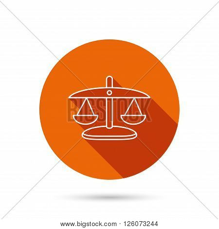 Scales of Justice icon. Law and judge sign. Measurement tool symbol. Round orange web button with shadow.