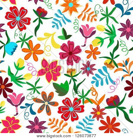 Seamless floral background.Colorful flowers and leafs on white background.Traditional Mexican pattern. Vector illustration.