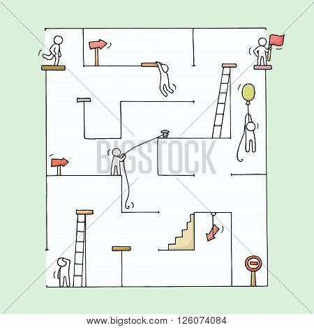 Sketch of little people with labyrinth. Doodle cute miniature challenge for team and goal. Hand drawn cartoon vector illustration for business design and concepts.