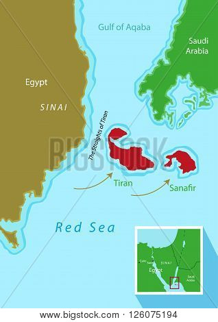 Tiran and Sanafir islands deal between Egypt and Saudi Arabia. Transfer of two islands to KSA for a planned bridge between two countries via the islands. Editable Clip Art.