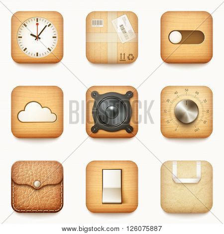 Set Of Textured Wooden Paper And Leather App Icons On Rounded Corner Square
