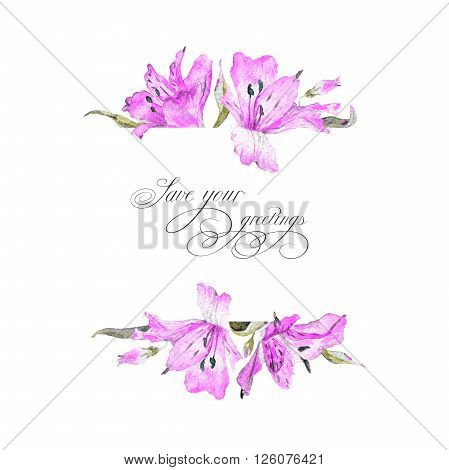 Greeting card  with pink watercolor lilies. This background can be used as greeting card template for invitation card and so on.