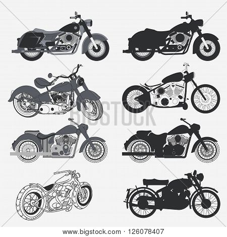 Motorcycle Set different Vintage Graphic Design, chopper motorbike silhouette collection. garage and biker logotypes, Custom moto concept vector illustration