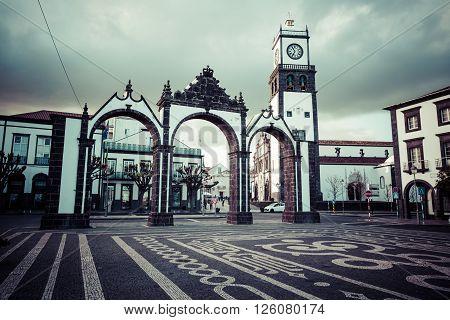 Ponta Delgada Azores Portugal - April 20 2015: Portas da Cidade - historic entrance to the town of Ponta Delgada on Sao Miguel island Azores