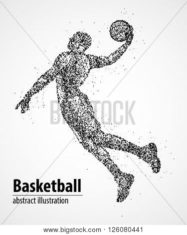 Abstract basketball player in jump from the black circles. Vector illustration.