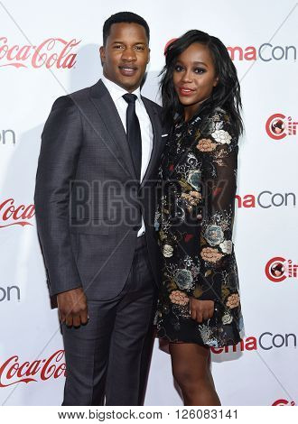 LOS ANGELES - APR 14:  Nate Parker & Aja Naomi King arrives to the Cinema Con 2016: Awards Gala  on April 14, 2016 in Las Vegas, NV.