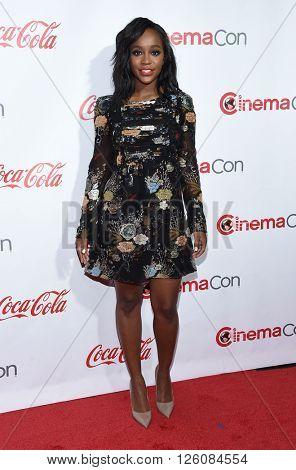 LOS ANGELES - APR 14:  Aja Naomi King arrives to the Cinema Con 2016: Awards Gala  on April 14, 2016 in Las Vegas, NV.