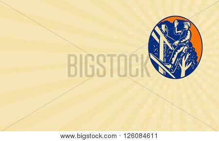 Business card showing illustration of a power lineman telephone repairman worker standing on electric pole with harness waving hand saying hellow viewed from low angle done in retro woodcut style. poster