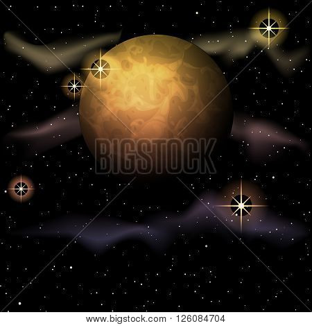 Space background with a planet and sparkles. Graphics are grouped and in several layers for easy editing. The file can be scaled to any size.