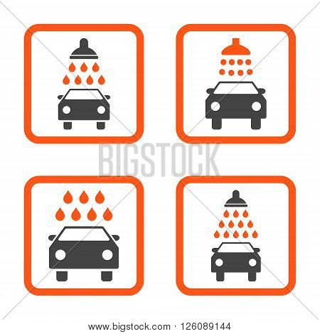 Carwash vector bicolor icon. Image style is a flat icon symbol inside a square rounded frame, orange and gray colors, white background.