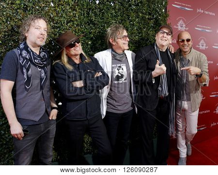 Daxx Nielsen, Tom Petersson, Michael Anthony, Robin Zander and John Varvatos at the John Varvatos 13th Annual Stuart House Benefit held at the John Varvatos in West Hollywood, USA on April 17, 2016.