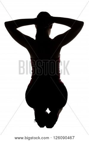 Silhouette of sporty woman, squatting from back on white background.