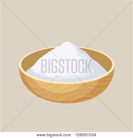Starch bowl. Pile of starch in a wooden bowl. Baking and cooking ingredient. Cartoon vector illustration of starch. Food seasoning. Kitchen utensils starch bowl