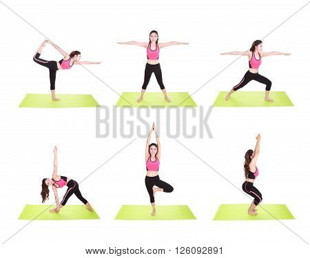 Set Of Young Woman Doing Yoga Exercise Isolated On White Background