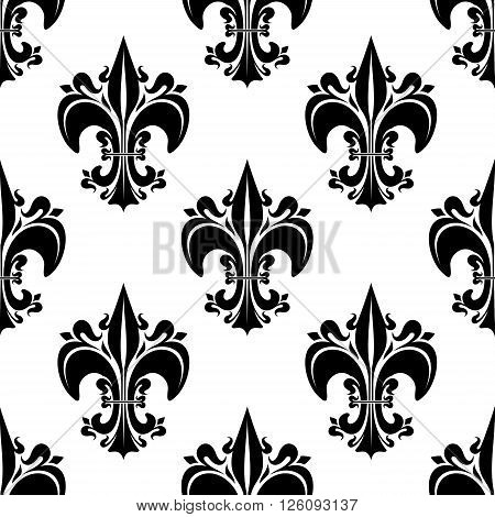 Decorative seamless black fleur-de-lis pattern of florid french heraldic lilies, adorned by buds and curlicues on white background. Use as vintage interior, wallpaper or royal theme design