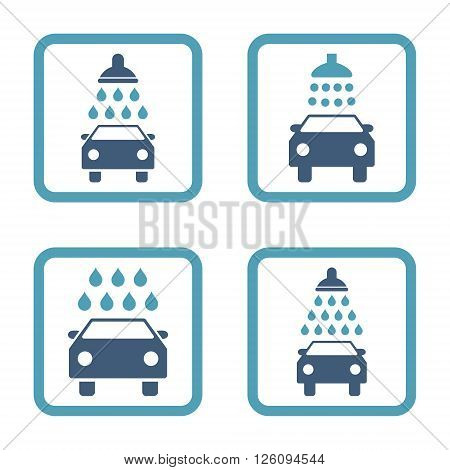 Carwash vector bicolor icon. Image style is a flat icon symbol inside a square rounded frame, cyan and blue colors, white background.