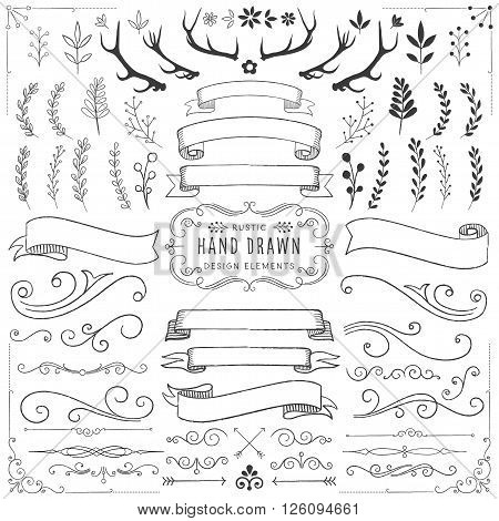 Rustic Clipart Set - Rustic ornaments, florals, banners and scrolls poster
