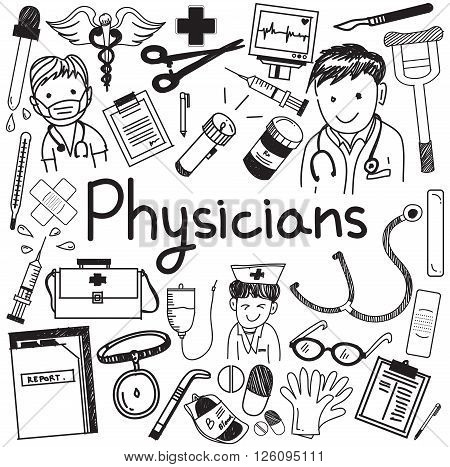 Physician doctor and other medic professions doodle icons in white isolated paper background, create by vector