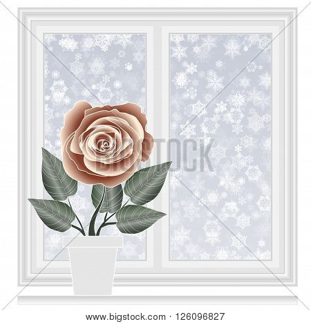 Save heat postcard closed window with snowflakes background winter time Christmas and New Year