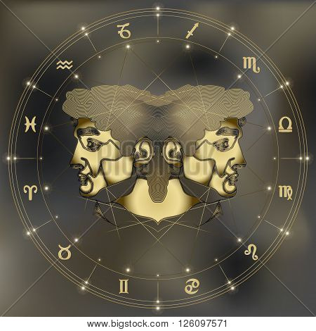 Golden twins zodiac Gemini sign for astrological predestination and horoscope poster