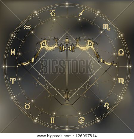 Golden bow and arrow zodiac Sagittarius sign for astrological predestination and horoscope